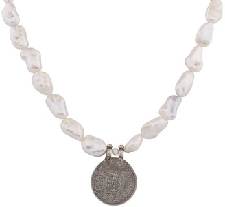 Carousel Jewels Antique Old Coin & Baroque Pearl Necklace