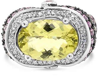 LeVian CORP LIMITED QUANTITIES! Le Vian Grand Sample Sale Ring featuring Lemon Quartz Bubble Gum Pink Sapphire Green Sapphire Vanilla Diamonds set in 14K Vanil