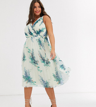 ASOS DESIGN Curve midi dress with wrap pleat bodice in blossom floral print