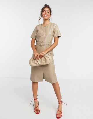 Vila leather look midi dress with belt and button detail in beige