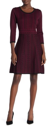Nina Leonard Geometric Print Sweater Dress