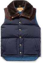 Kingsman - + Rocky Mountain Featherbed Suede And Shearling-trimmed Quilted Faille Down Gilet - Navy