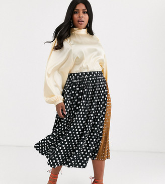 Unique21 Hero contrast polka dot pleated skirt