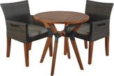 Outdoor Interiors 3Pc Eucalyptus & Metal Bistro Set With Wicker & Eucalyptus Arm Chairs