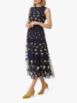Hobbs Bethany Floral Print Midi Dress, Midnight Yellow