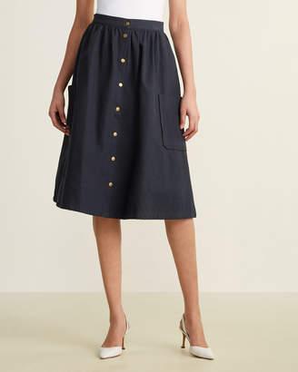 Le Mont St Michel Deep Pocket Snap Button Skirt