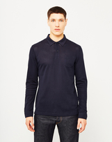 Sunspel Long Sleeve Riviera Polo Shirt Navy