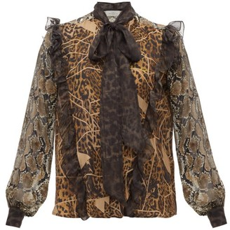 Preen by Thornton Bregazzi Blakely Leopard And Snake-print Pussy-bow Blouse - Leopard