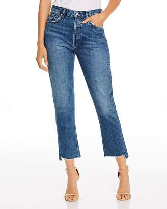 A Gold E AGOLDE Riley Frayed-Hem Cropped Straight-Leg Jeans in Disguise