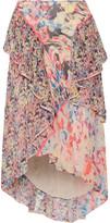 Jason Wu Asymmetric Ruffled Floral-print Silk-georgette Midi Skirt - Pink