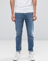 Selected Mid Wash Jeans with Stretch in Slim Fit