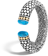 John Hardy Women's Dot 17.5MM Kick Cuff in Sterling Silver and 18K Gold with Natural Arizona Turquoise