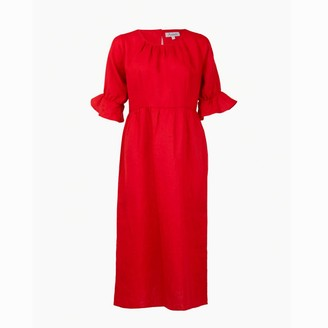 Asneh Natalie Red Midi Linen Dress