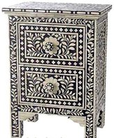 Antique Rustic Floral Bone Inlay 2 Drawer Side Table Handmade Inlay Furniture