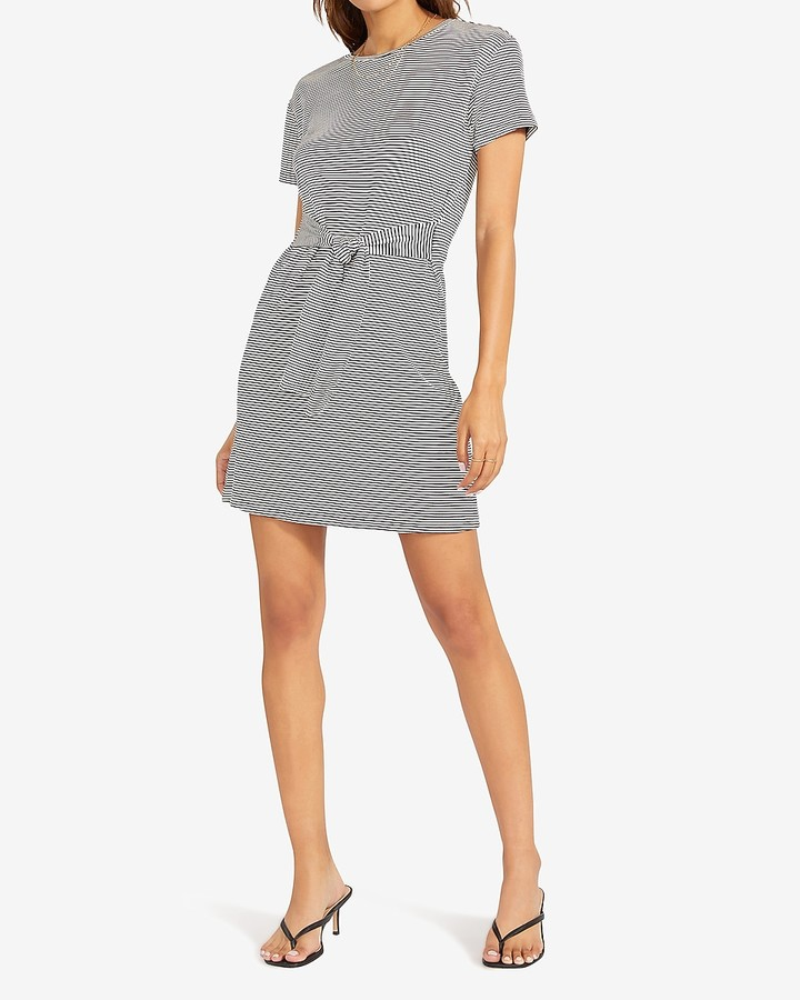 Express Bb Dakota Striped Knit T-Shirt Dress