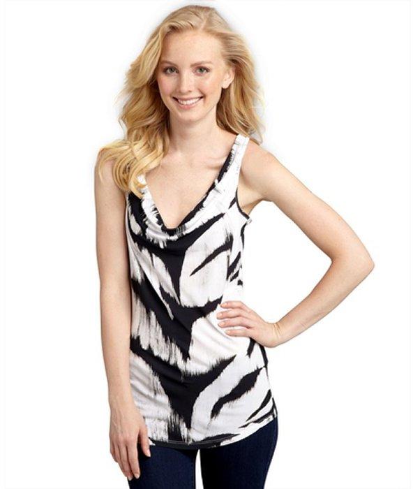 Alexander McQueen black and white tiger striped cowl neck tank