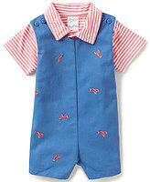 Starting Out Baby Boys Newborn-9 Months Nautical Striped Polo Shirt & Lobster-Embroidered Shortall