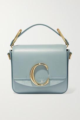Chloé C Mini Suede-trimmed Leather Shoulder Bag - Blue