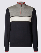 Blue Harbour Pure Cotton Colour Block Jumper