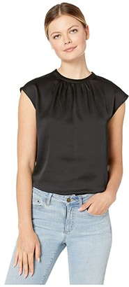 Vince Camuto Extend Shoulder Hammer Satin Mock Neck Blouse (Rich Black) Women's Clothing