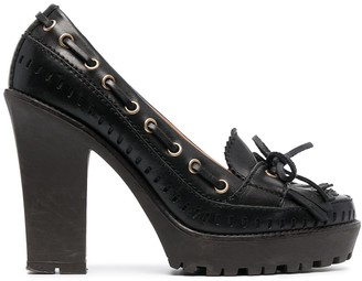 Yves Saint Laurent Pre-Owned Chunky Sole Lace-Up Detailing Loafers