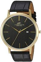 Adee Kaye Men's Quartz Stainless Steel and Leather Casual Watch, Color:Black (Model: AK3331-MG/BK)