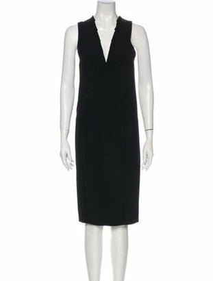 Valentino V-Neck Midi Length Dress Black