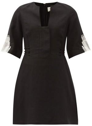ZEUS + DIONE Dokos Embroidered Linen Mini Dress - Black