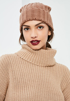 Missguided Camel Ribbed Beanie