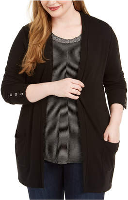 Belldini Plus Size Patch-Pocket Cardigan