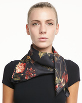 Floral-Print Silk Twill Square Scarf