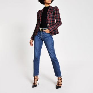 River Island Womens Red tartan long puff sleeve blazer