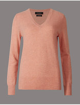 Autograph Pure Cashmere Ribbed Hem V-Neck Jumper