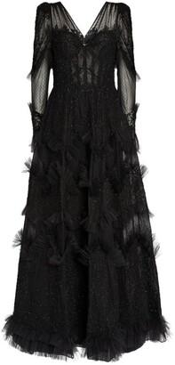 ZUHAIR MURAD Embellished Woolf Maxi Dress