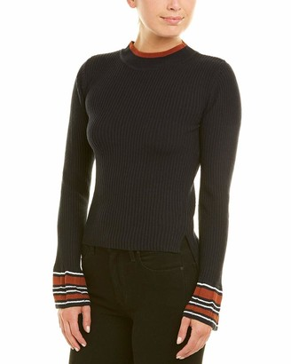 J.o.a. Women's Flared Sleeve Rib Knit Striped Casual Sweater TOP