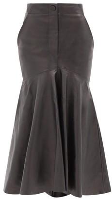 Petar Petrov Ryo Fishtail-hem Leather Skirt - Black