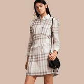 Burberry Ruffle Detail Cotton Check Shirt Dress