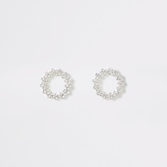 River Island Womens Silver colour open circle stud earrings