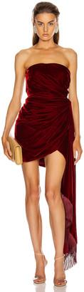 Oscar de la Renta Strapless Cocktail Dress in Claret   FWRD