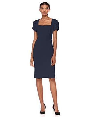 Donna Morgan Women's Tulip Sleeve Square Neck Crepe Sheath Dress