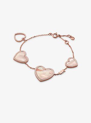 Michael Kors 14K Rose Gold-Plated Sterling Silver Pave Heart Charm Bracelet