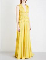 Elie Saab Frilled silk-blend gown