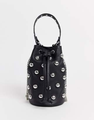 Nunoo Mette Stud Bag with Chain in Black Leather-Pink