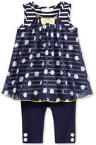 Bonnie Baby 2-Pc. Dot-Print Chiffon Tunic & Leggings Set, Baby Girls (0-24 months)