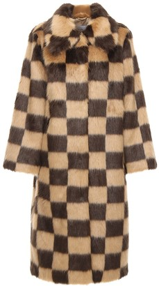 Stand Nino Check Faux Fur Long Coat