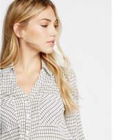 Express slim fit windowpane print portofino shirt