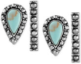 Lucky Brand Silver-Tone 2-Pc. Set Blue Stone and Pavé Stick Stud Earrings