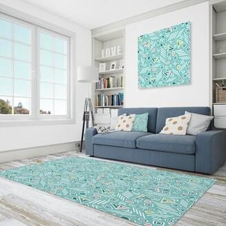 Green & Black East Urban Home Polyester Blue/Sea Green/Black Area Rug East Urban Home Rug Size: Rectangle 4' x 6'