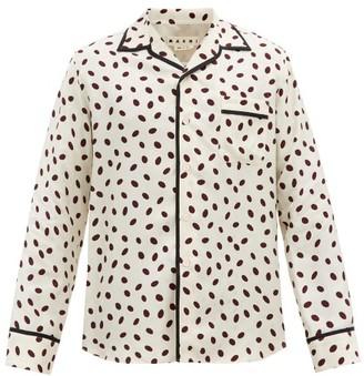 Marni Polka-dot Logo-jacquard Satin Shirt - Cream Multi