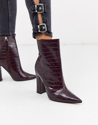 Topshop heeled croc pointed boots in burgundy